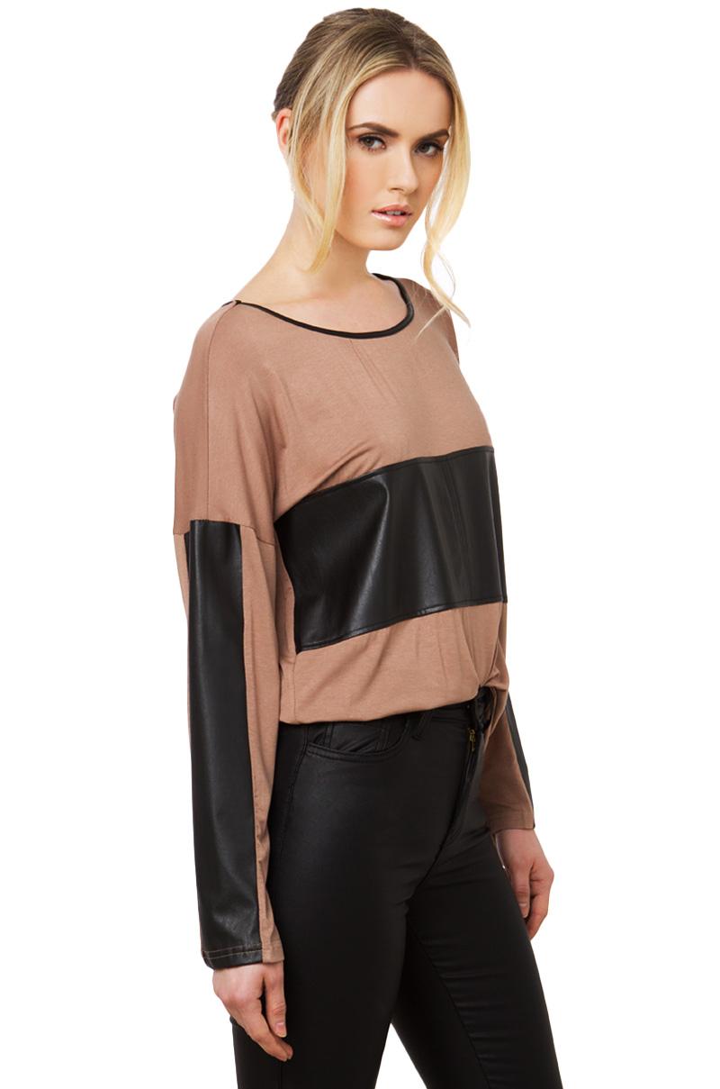 Lyst akira leather detail longsleeve top in black for Akira long sleeve shirt
