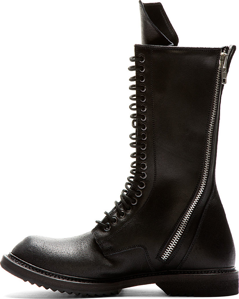Rick Owens Black Leather Double Zip Boots In Black For Men