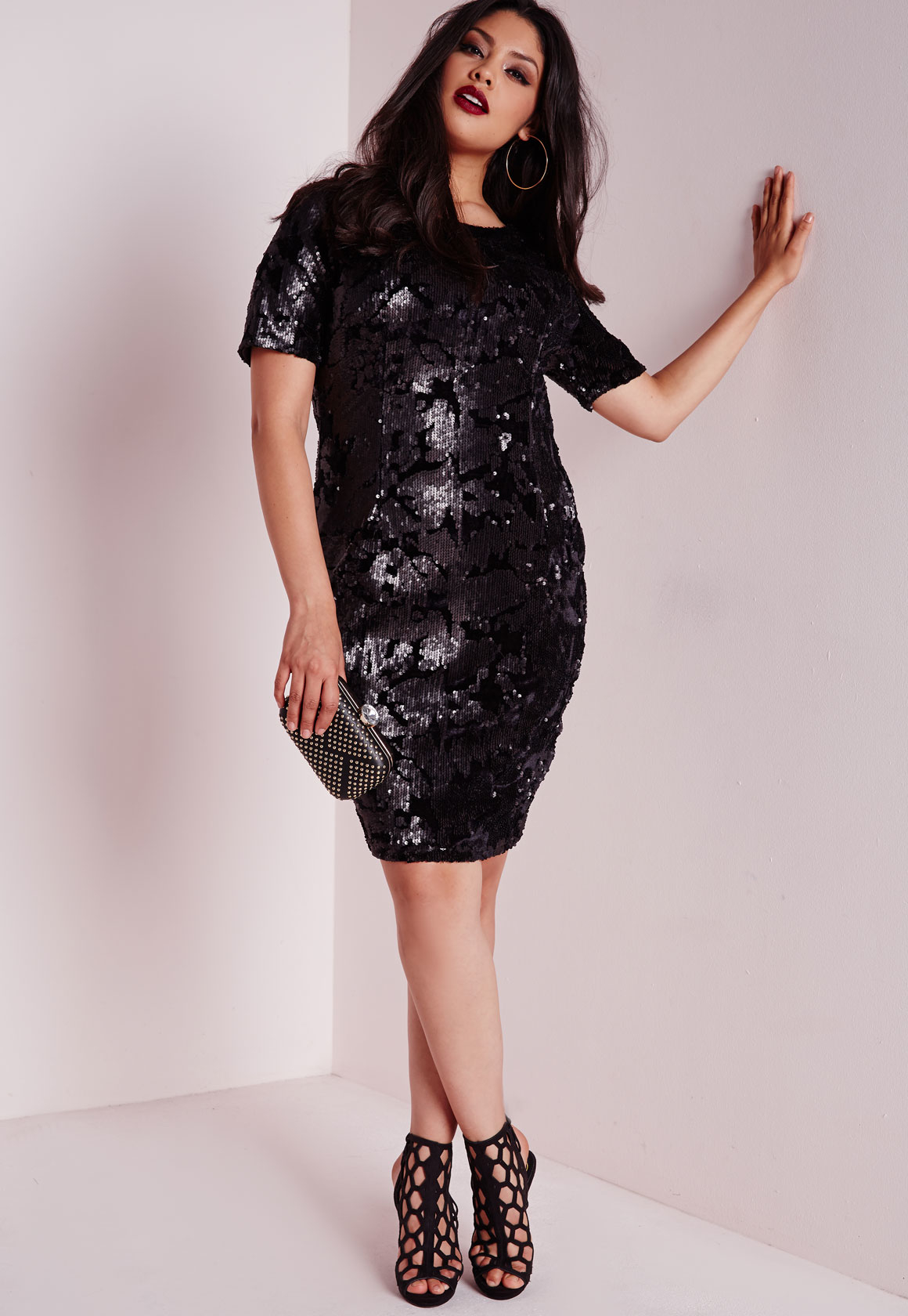 Missguided Plus Size Sequin Dress Black in Black | Lyst