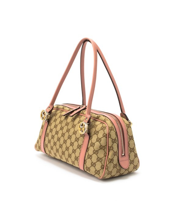 bcd635530f1f Gucci Preowned Beige and Pink Gg Canvas Twins Mini Boston Bag in Beige |  Lyst