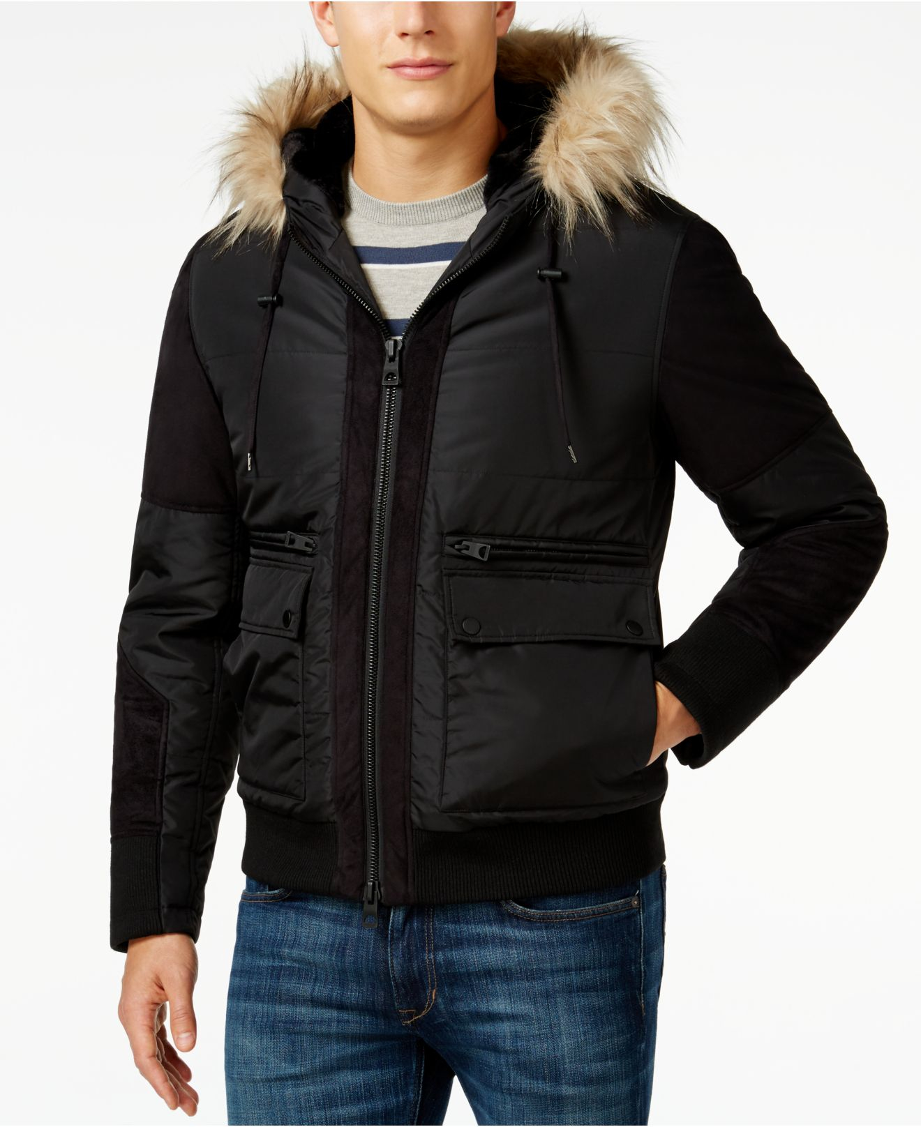 cc4d7845cf92 Lyst - Guess Filmore Faux-fur Hood Puffer Jacket in Black for Men