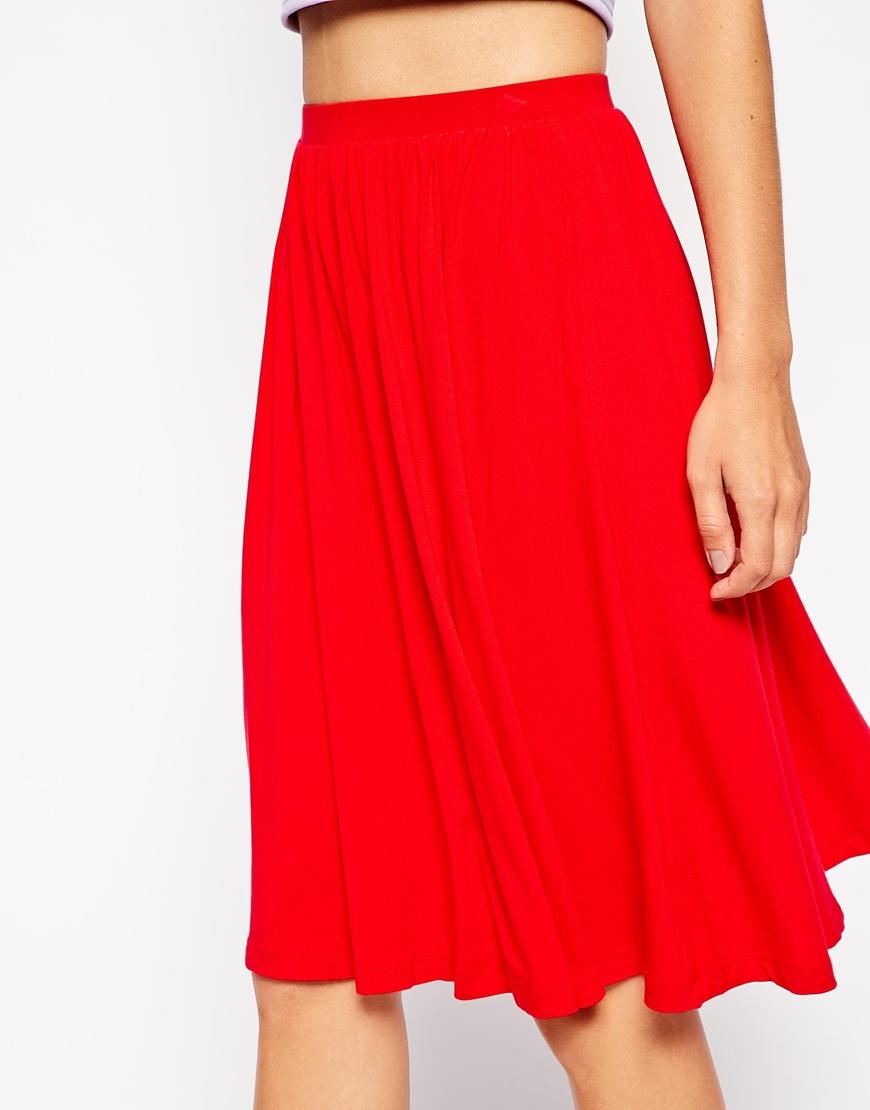 Asos Midi Skater Skirt in Red | Lyst