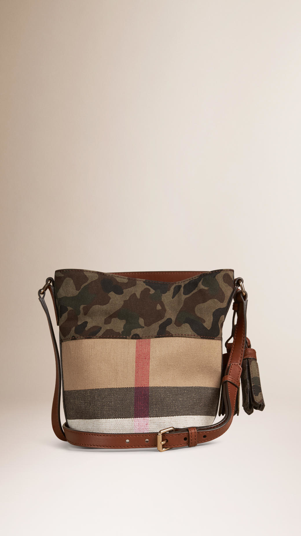 Burberry The Small Ashby In Canvas Check And Camouflage In