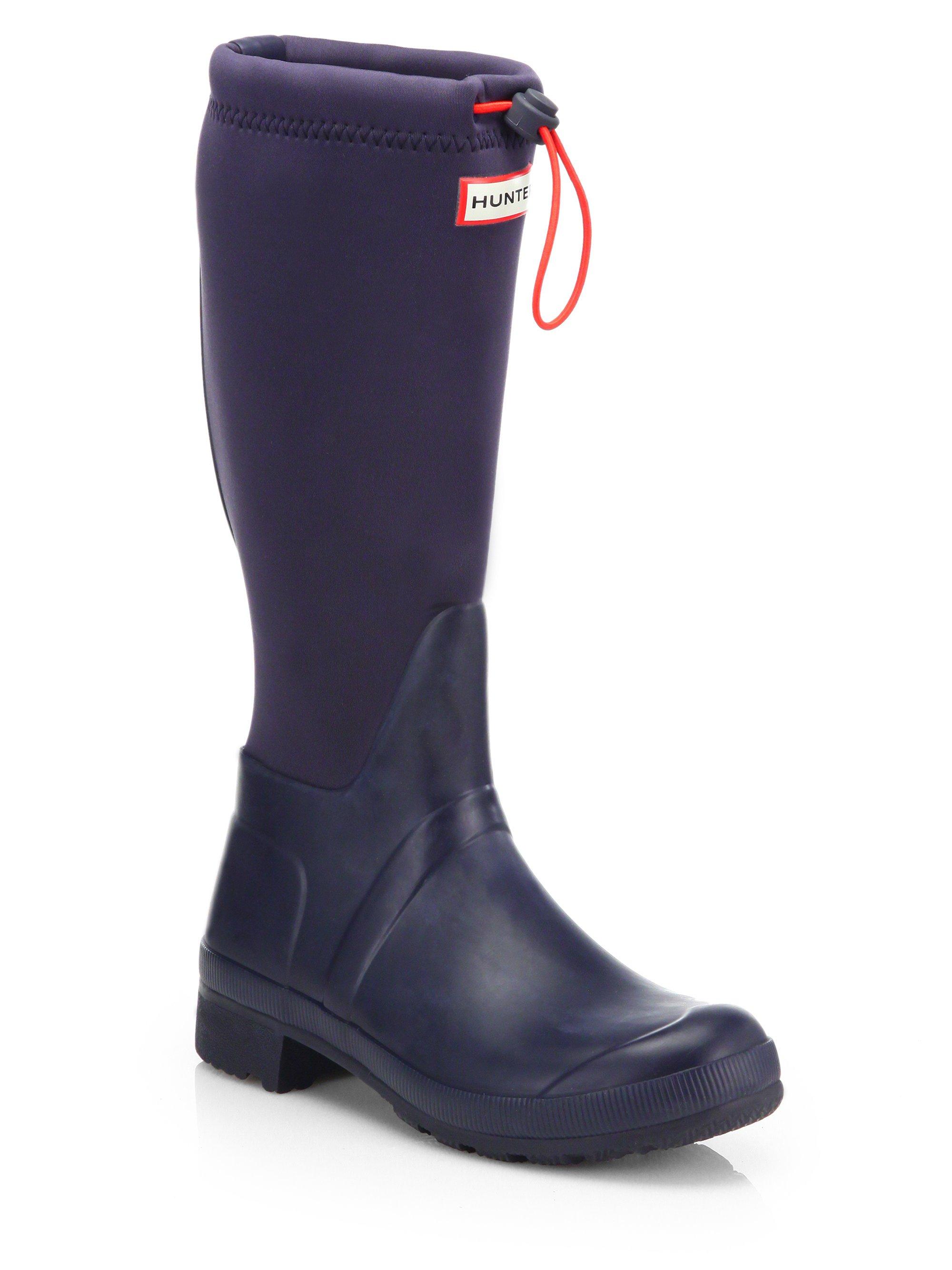 hunter original tour neoprene rubber rain boots in blue lyst. Black Bedroom Furniture Sets. Home Design Ideas