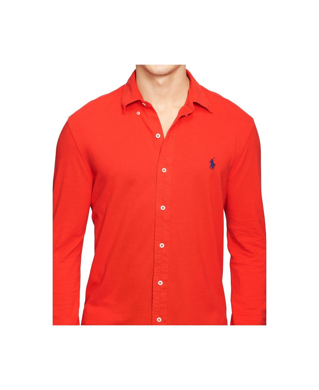 Lyst polo ralph lauren featherweight mesh button down for Polo ralph lauren casual button down shirts