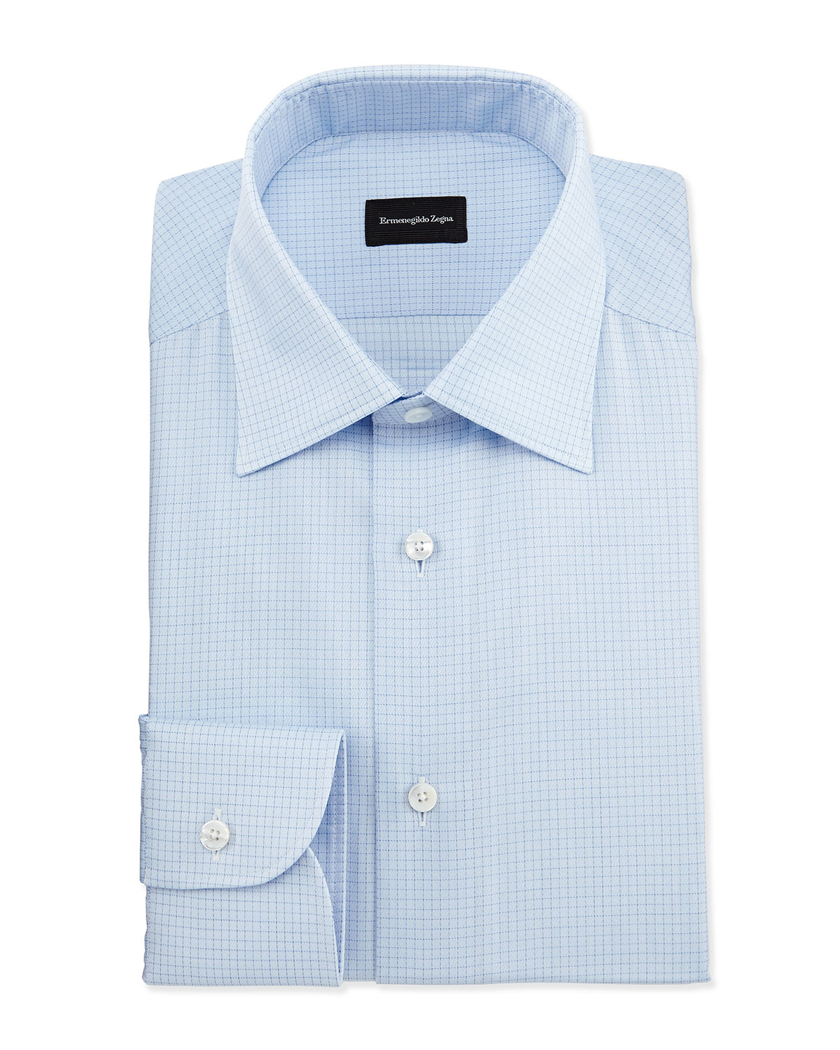 Ermenegildo zegna textured grid check dress shirt in blue for Blue check dress shirt