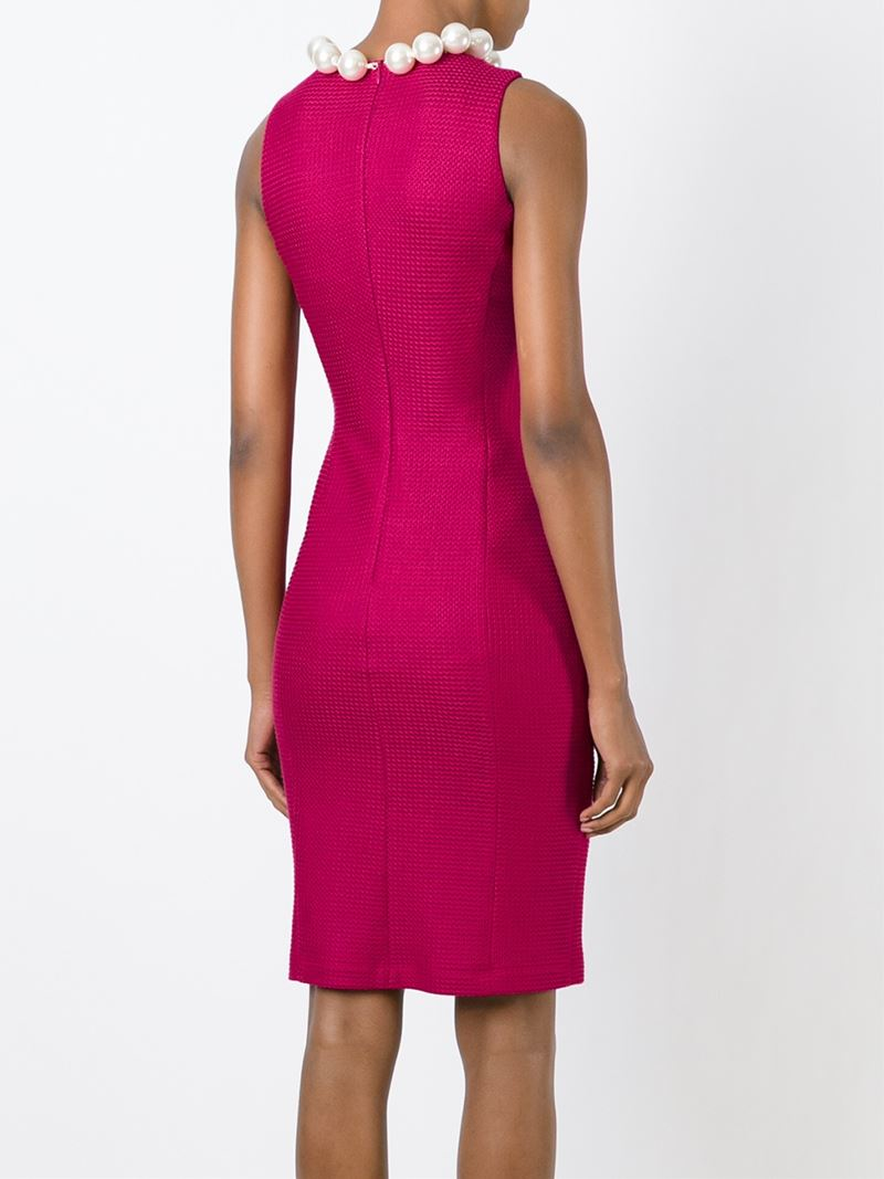 Lyst Boutique Moschino Pearl Collar Fitted Dress In Pink