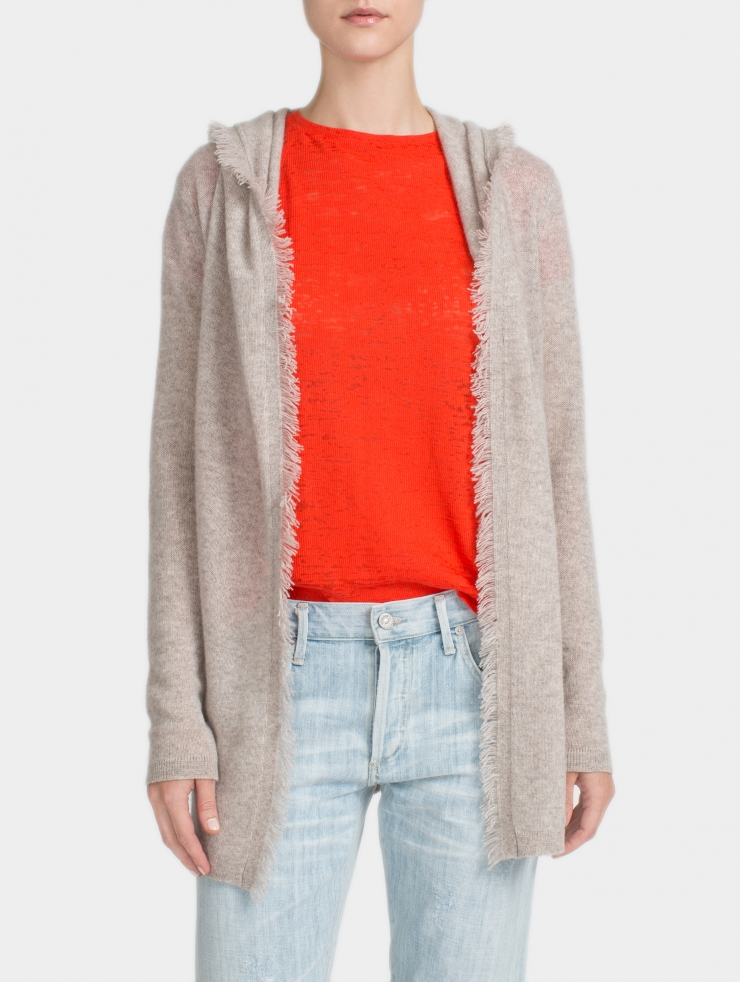White + warren Cashmere Fringe Hooded Cardigan in Beige ...