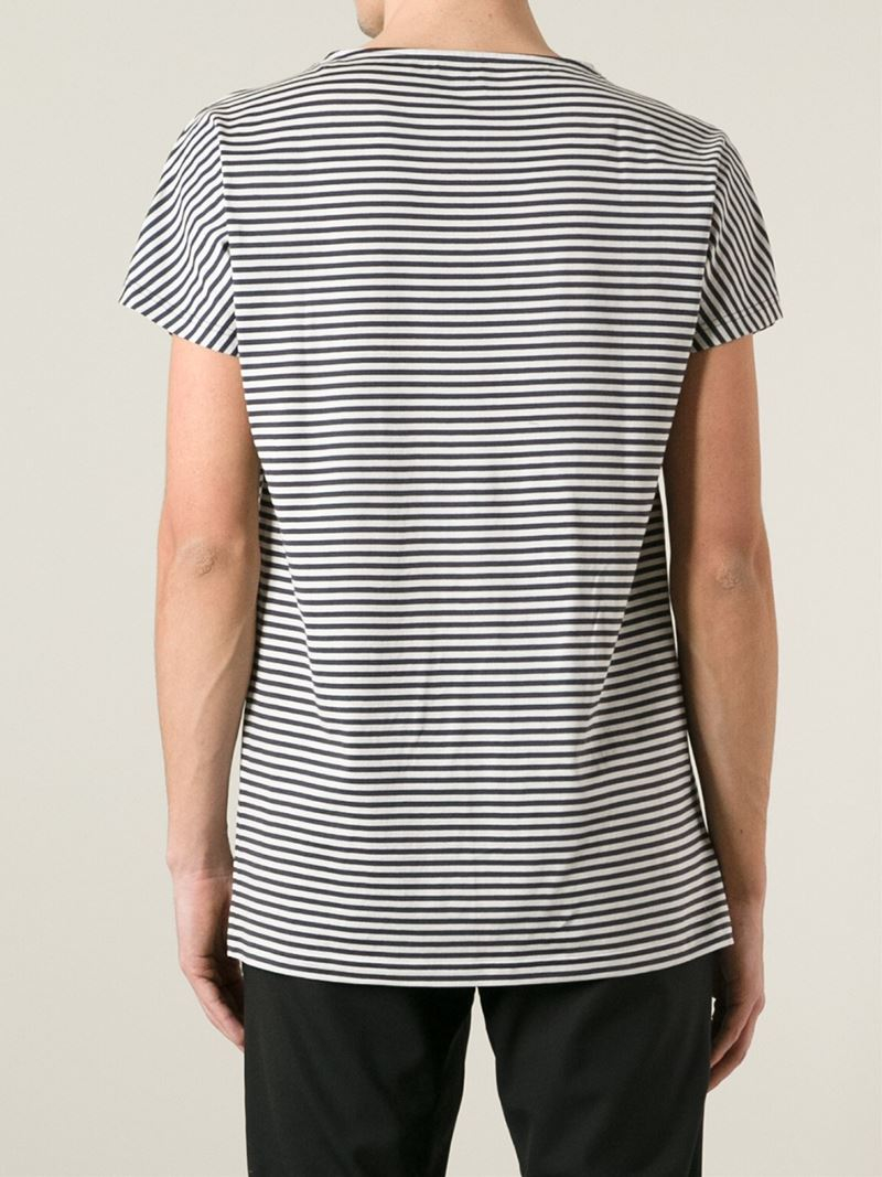 Lyst lanvin striped t shirt in gray for men Grey striped t shirt