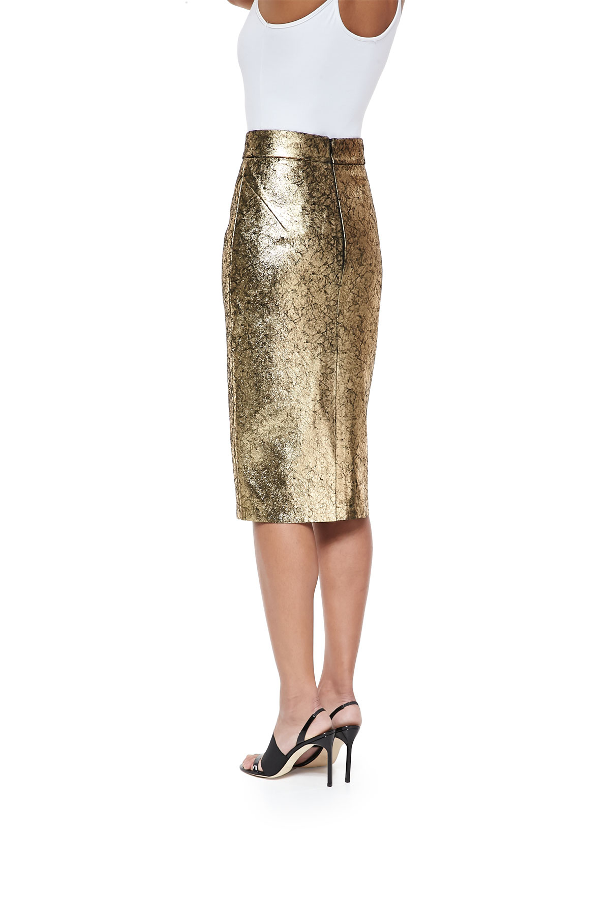 raoul metallic leather pencil skirt in metallic lyst