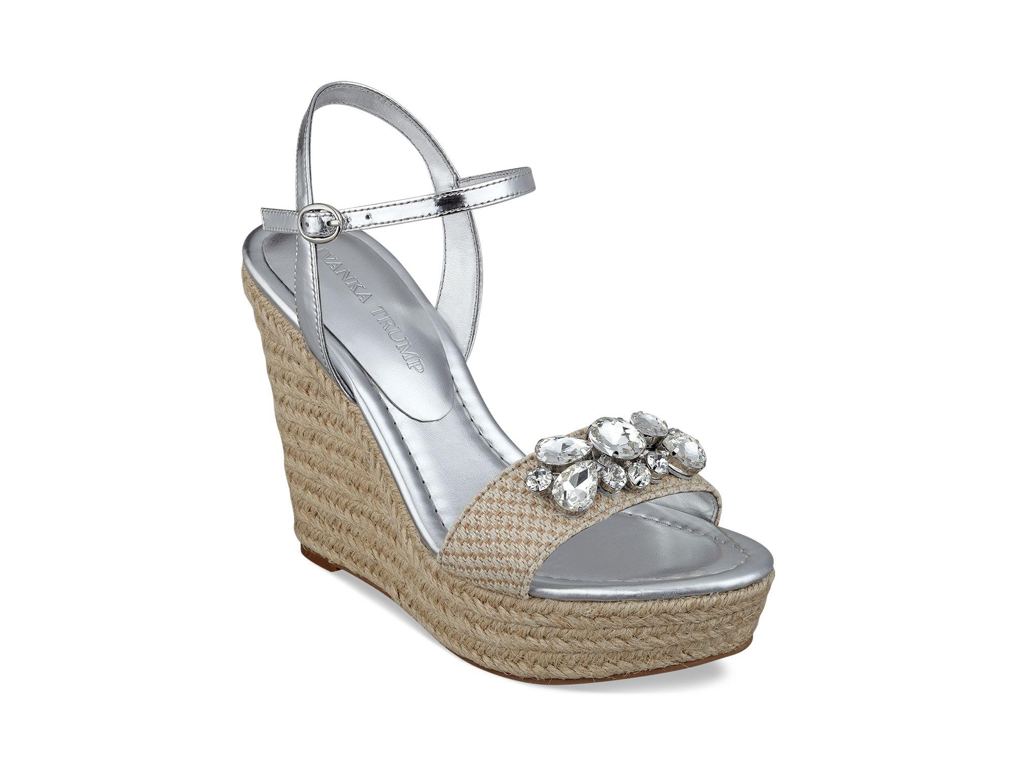 ivanka espadrille wedge sandals hasco jeweled in