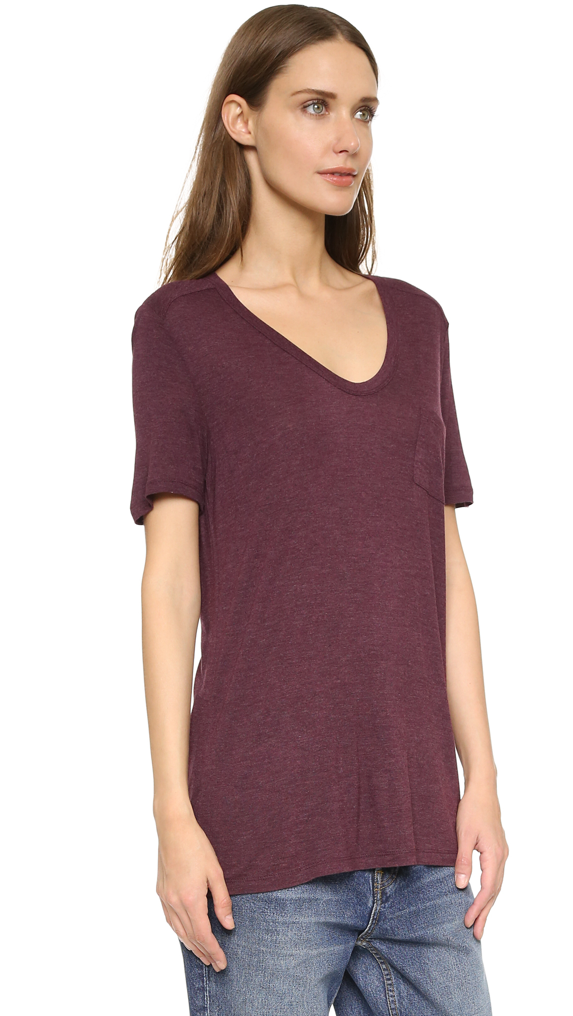 lyst t by alexander wang classic tee with pocket plum. Black Bedroom Furniture Sets. Home Design Ideas