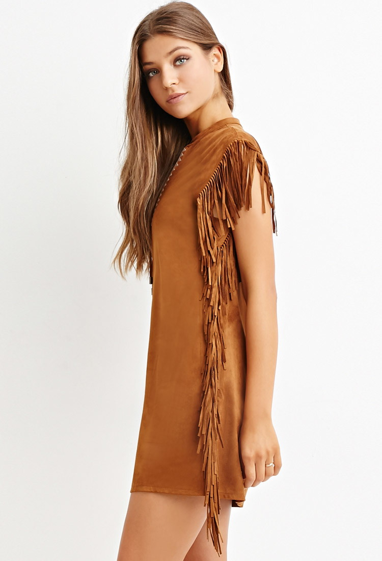 Forever 21 Fringed Faux Suede Dress In Brown Lyst