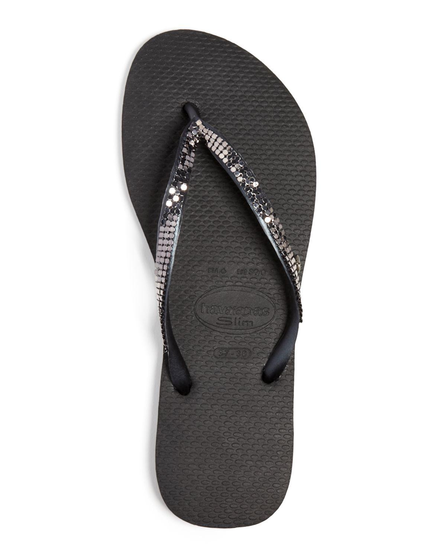 lyst havaianas flip flops slim metal mesh in black. Black Bedroom Furniture Sets. Home Design Ideas