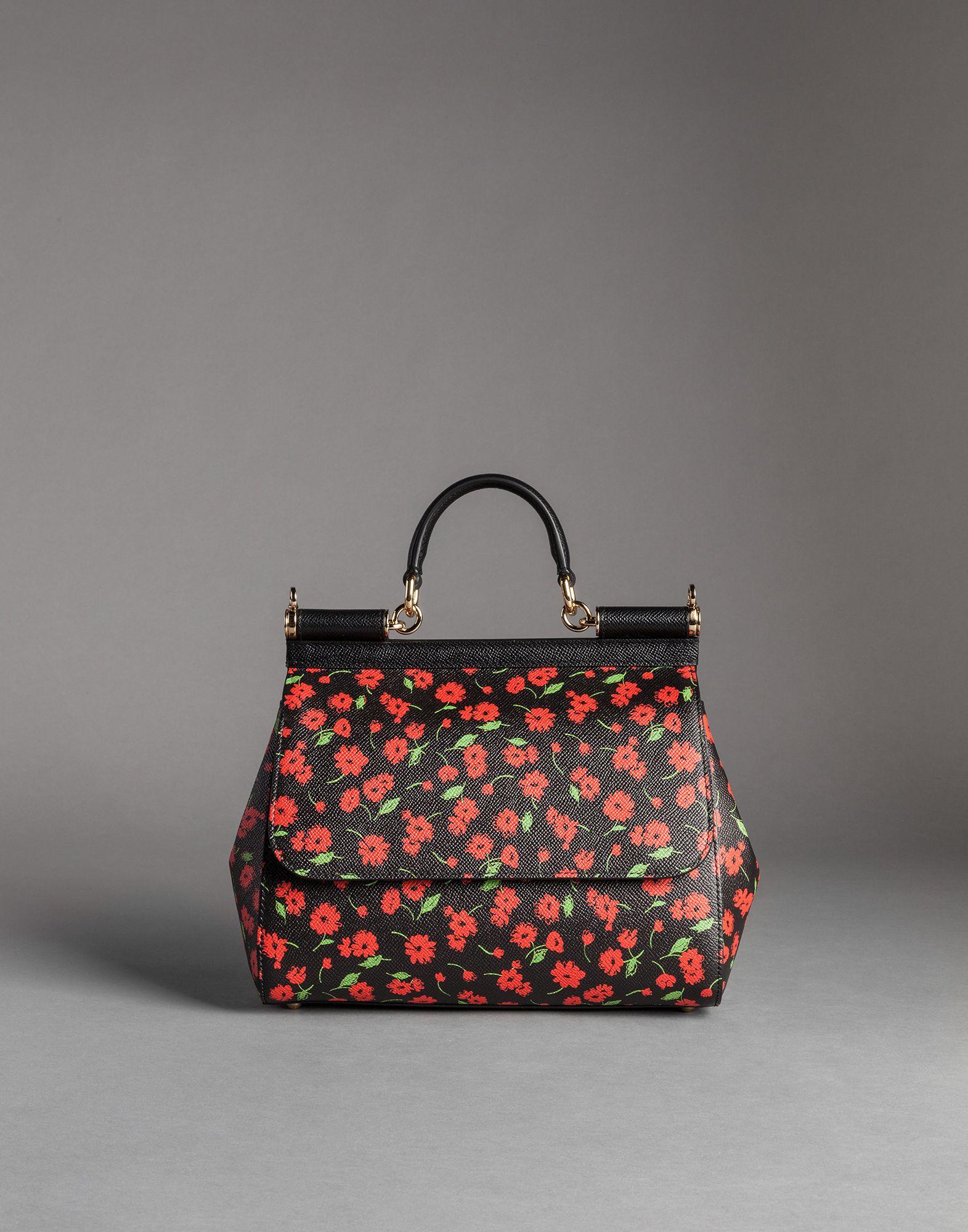 9180b8a9b6d6 Lyst - Dolce   Gabbana Flower Print Dauphine Calfskin Medium Sicily ...