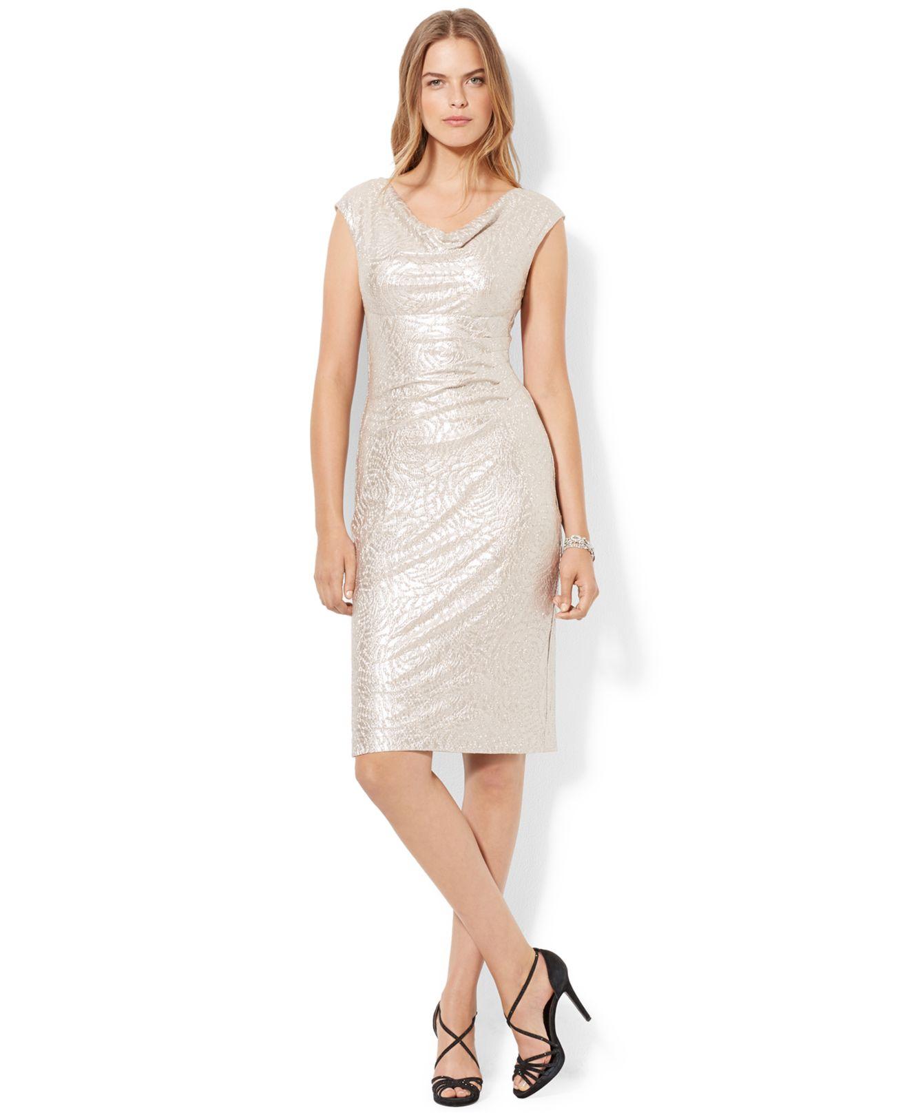 Cowl Neck Sheath Dresses: Lauren By Ralph Lauren Plus Size Metallic Cowl-Neck