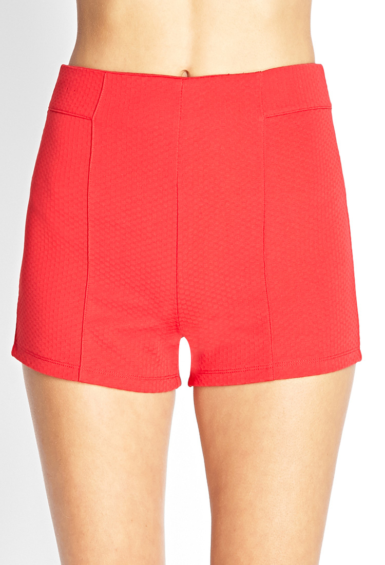 Forever 21 Textured Knit High-waist Shorts in Red | Lyst
