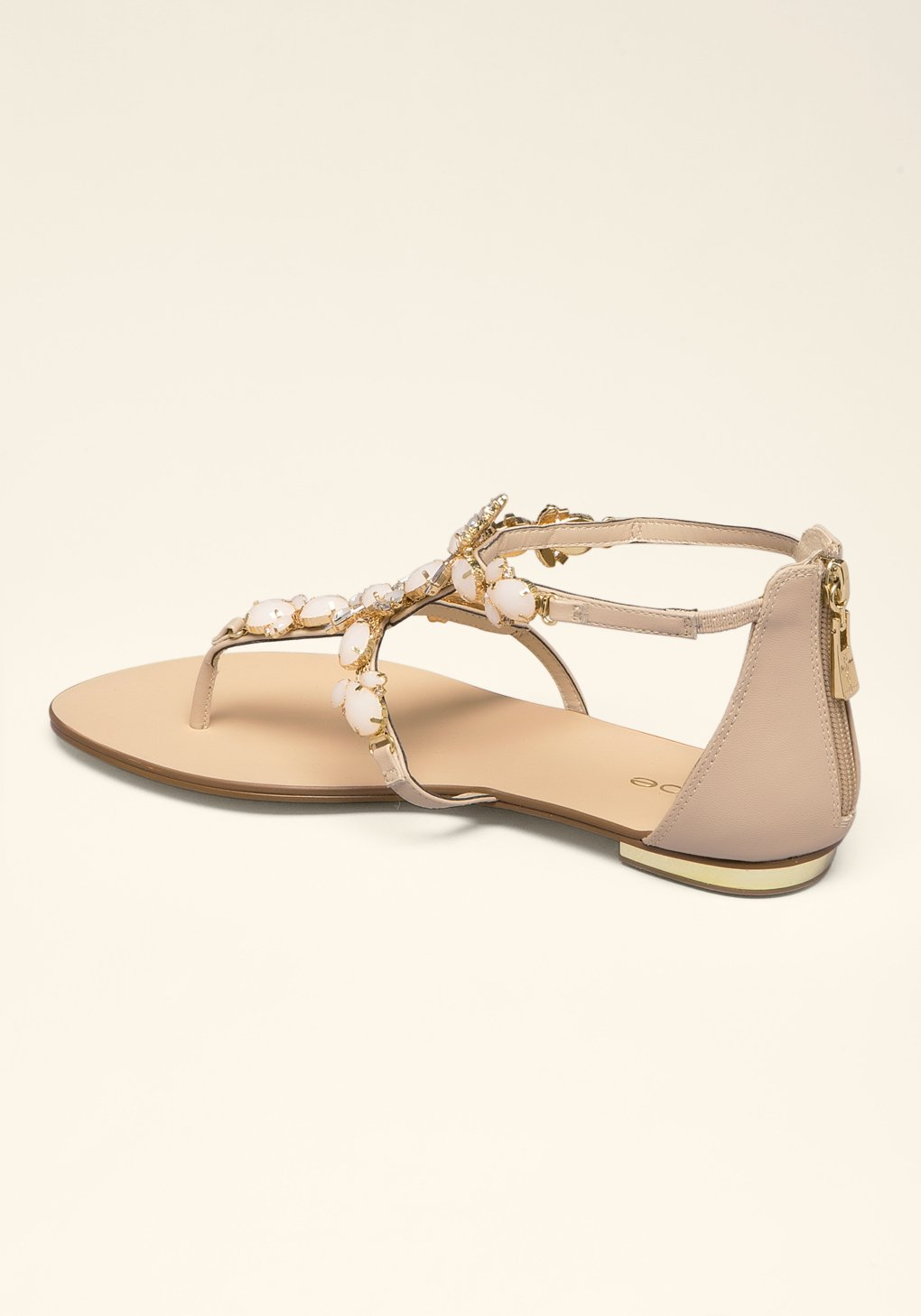 Lyst - Bebe Dayna Jeweled Flat Sandals In Natural