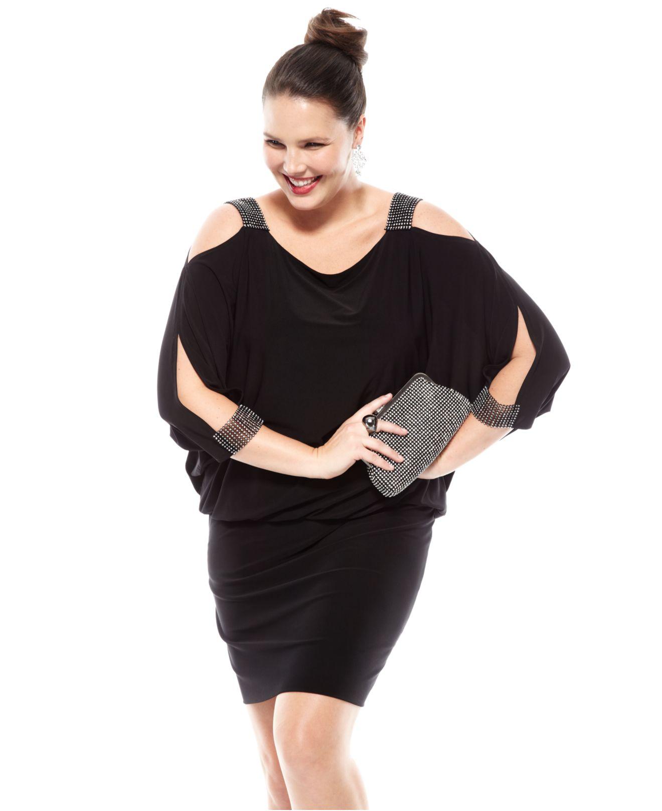 betsy & adam plus size split-sleeve blouson dress in black | lyst