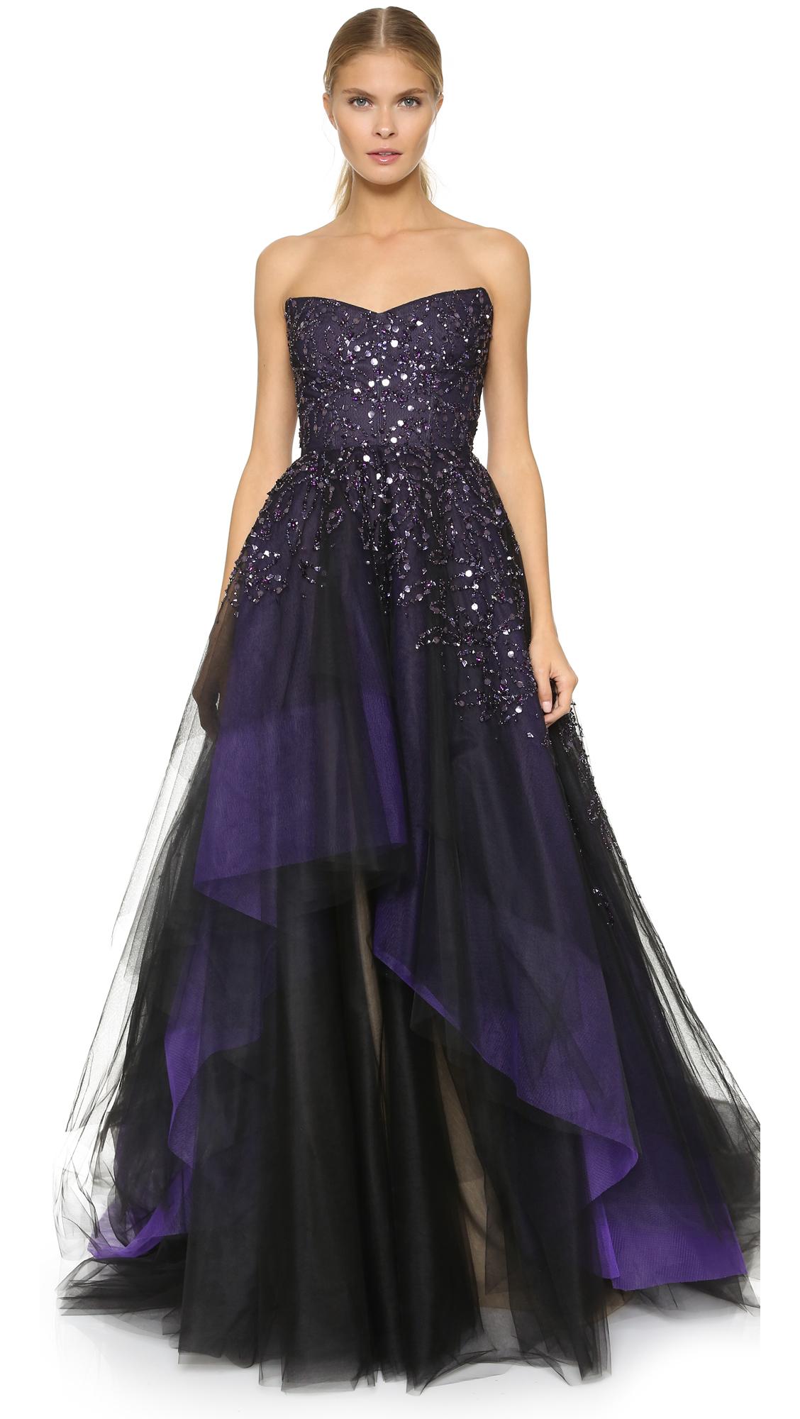Lyst - Monique Lhuillier Strapless Ball Gown - Deep Plum in Purple
