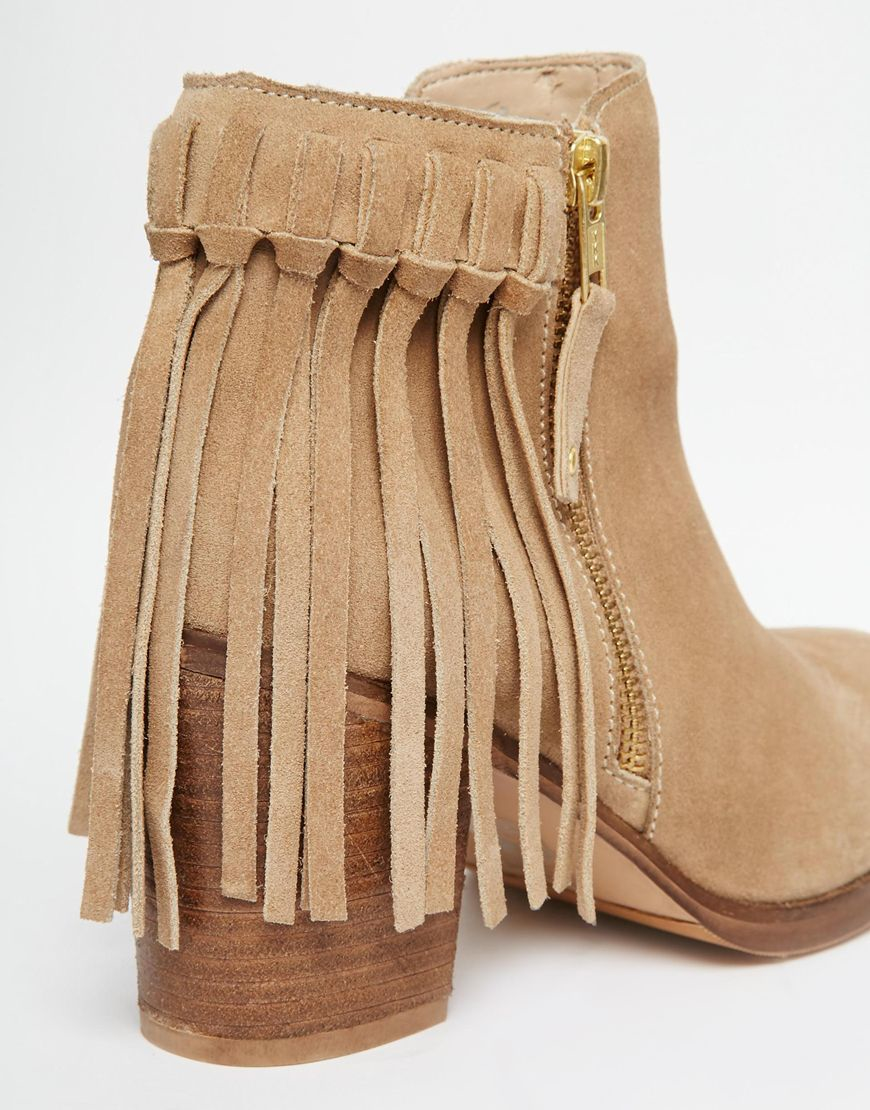 Asos Rhymes Suede Fringe Ankle Boots in Natural | Lyst