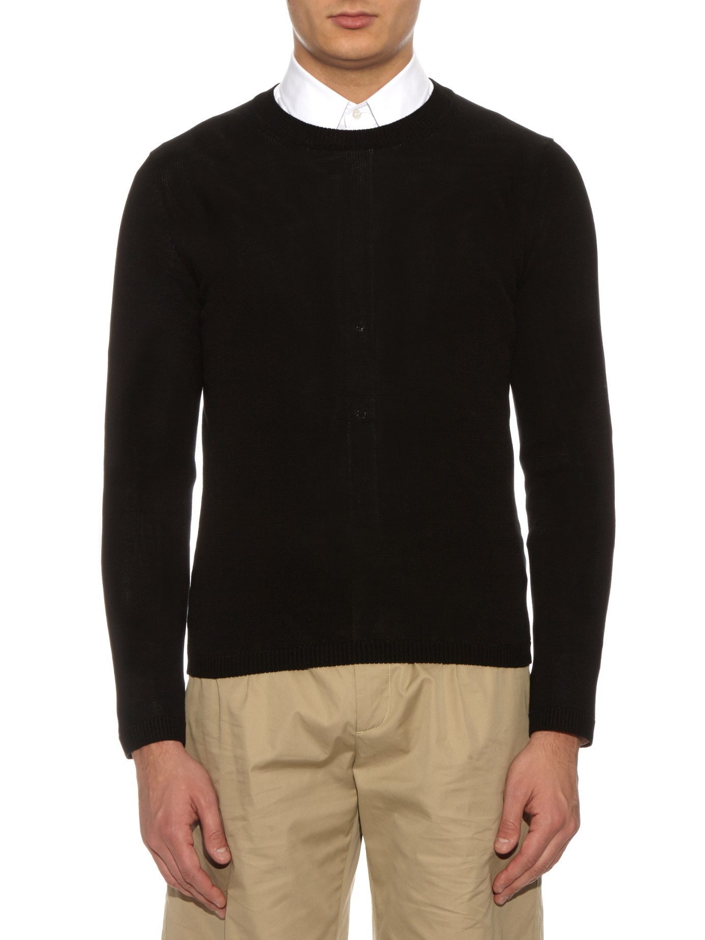 Gucci Crew-neck Cotton Sweater in Black for Men | Lyst