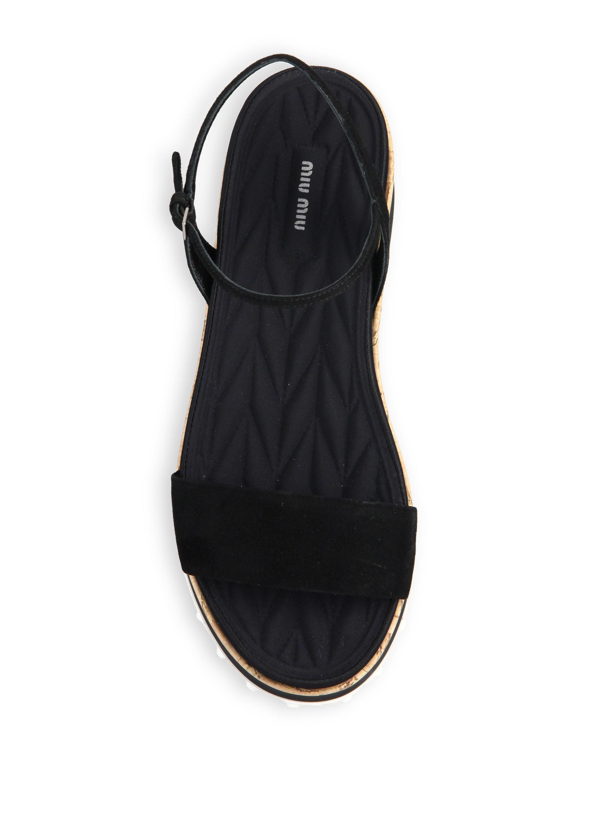 15069432ab8 Lyst - Miu Miu Cork Flatform Sneaker-bottom Sandals in Black