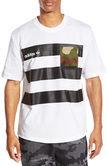 77b470e2cef67 adidas Originals Stripe Contrast Pocket T-shirt in White for Men - Lyst