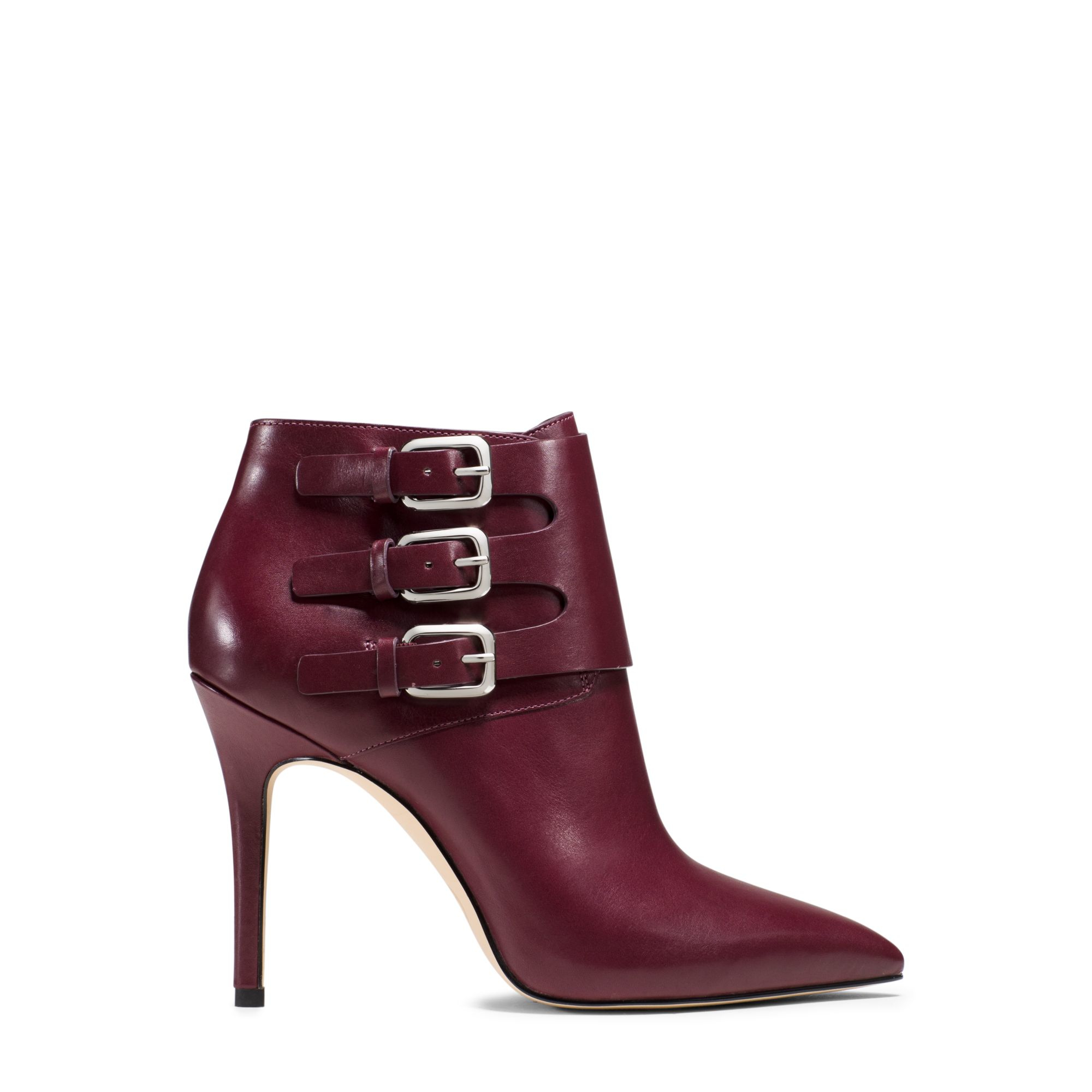 michael kors prudence leather ankle boot in purple merlot