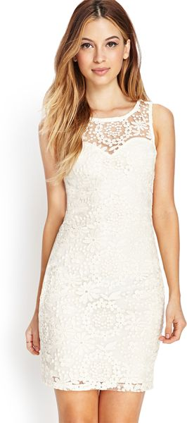 Forever 21 Embroidered Bodycon Dress In White Cream Lyst