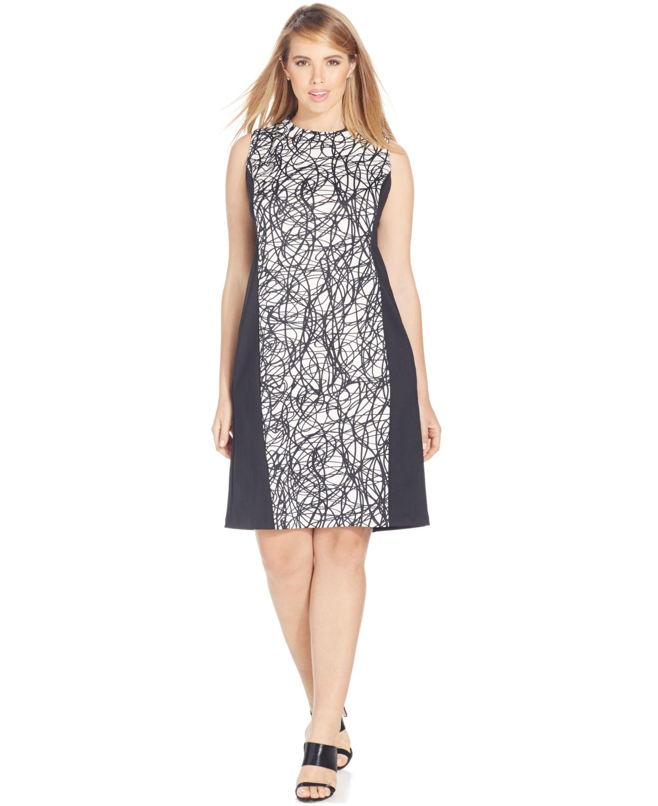 50638e1996a Lyst - Calvin Klein Plus Size Colorblocked Sheath Dress in Black