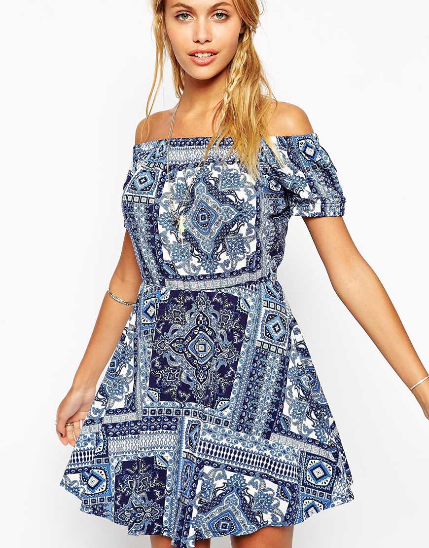 47cb18ed185 Lyst - ASOS Gypsy Skater Dress In Paisley Print in Blue