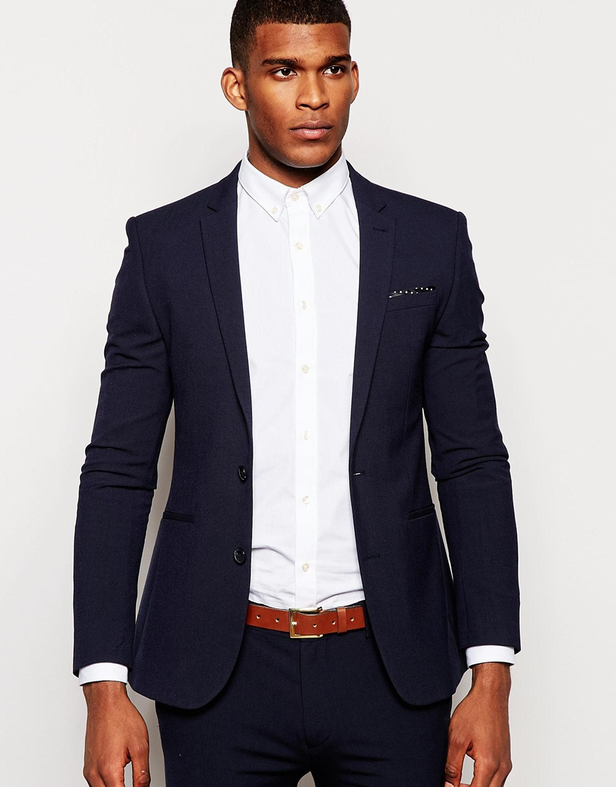 Asos Skinny Suit Jacket In Micro Texture In Navy in Blue for Men ...