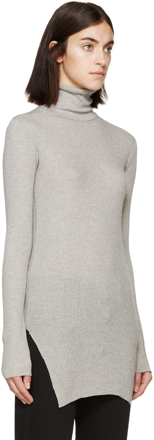 Helmut lang Grey Angora Ribbed Turtleneck in Gray | Lyst