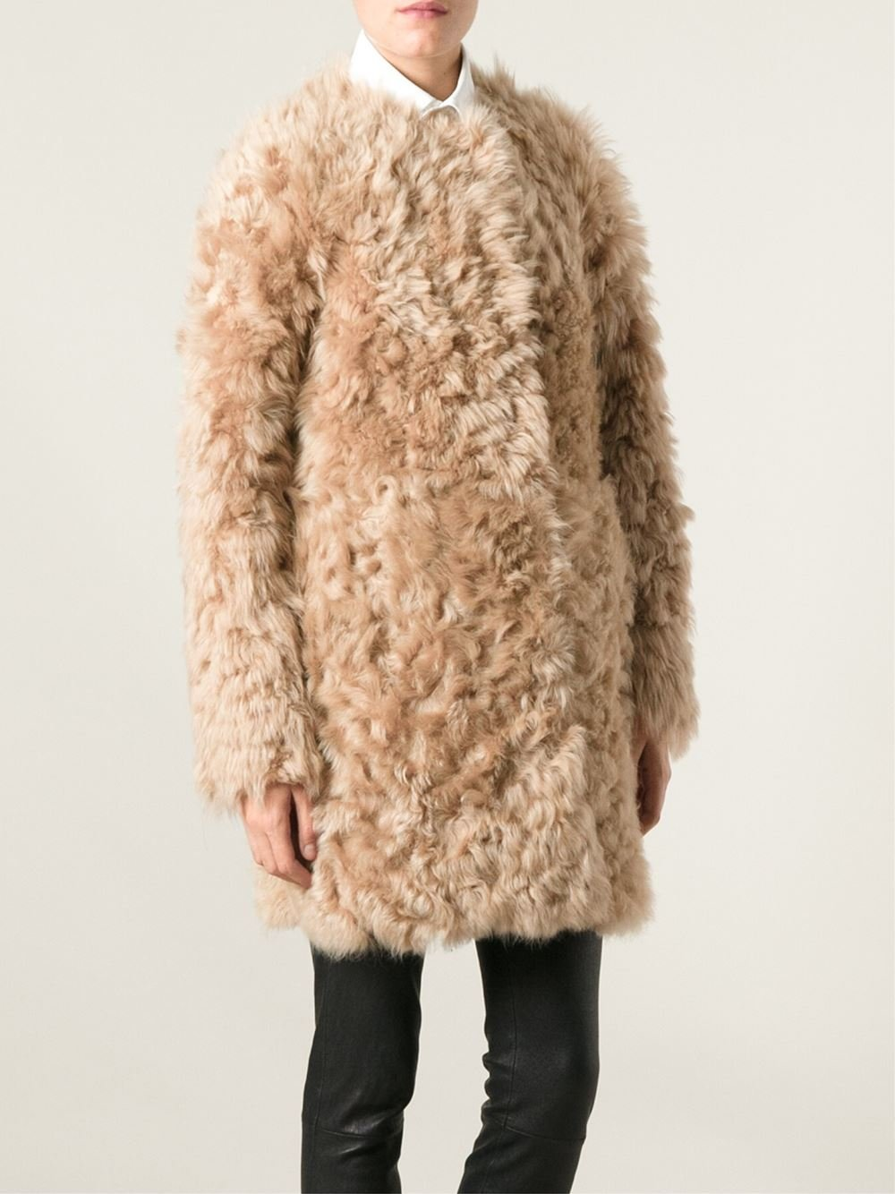 Drome Lamb Fur Coat in Natural | Lyst