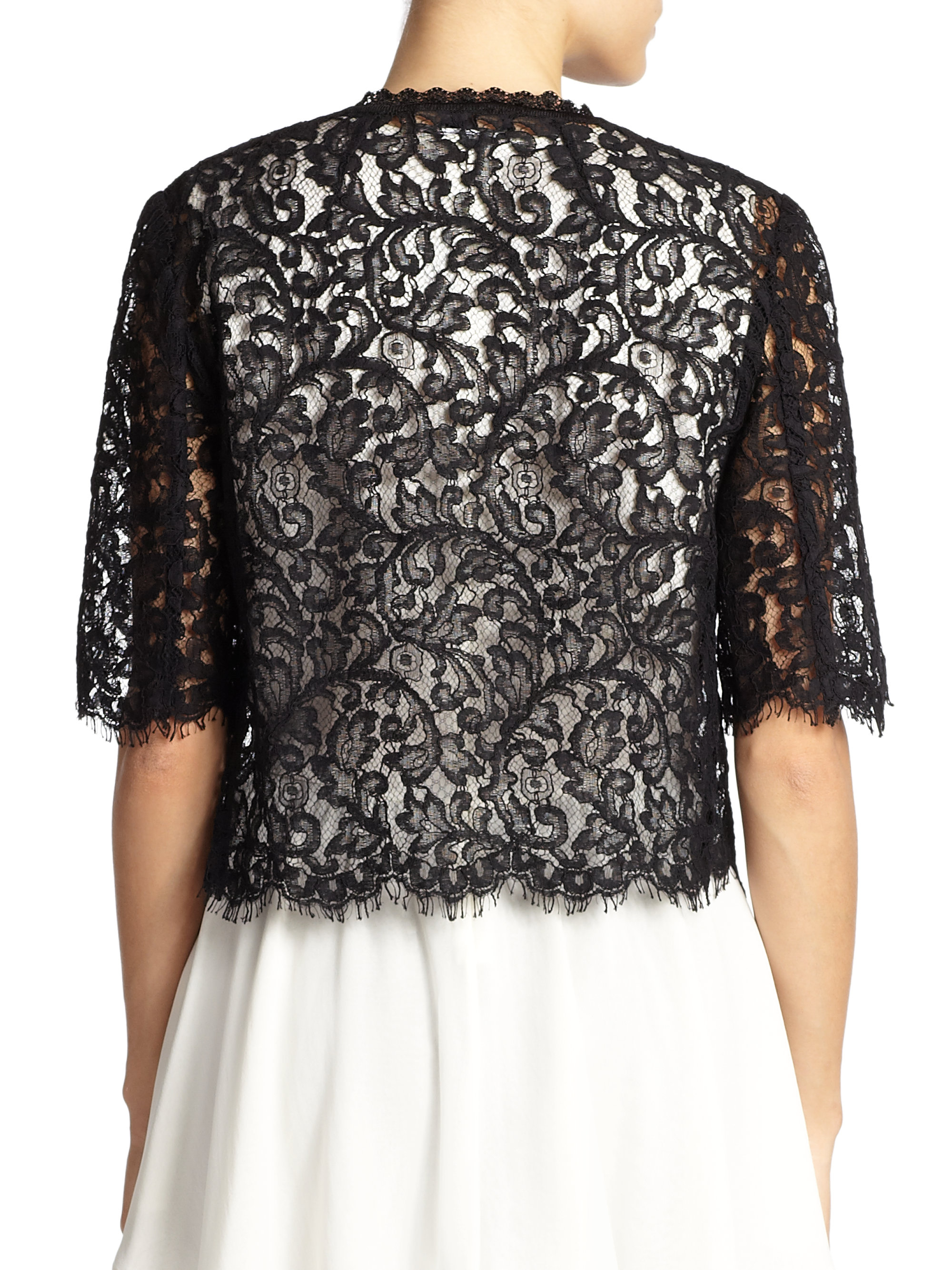 St. john Cropped Lace Cardigan in Black | Lyst
