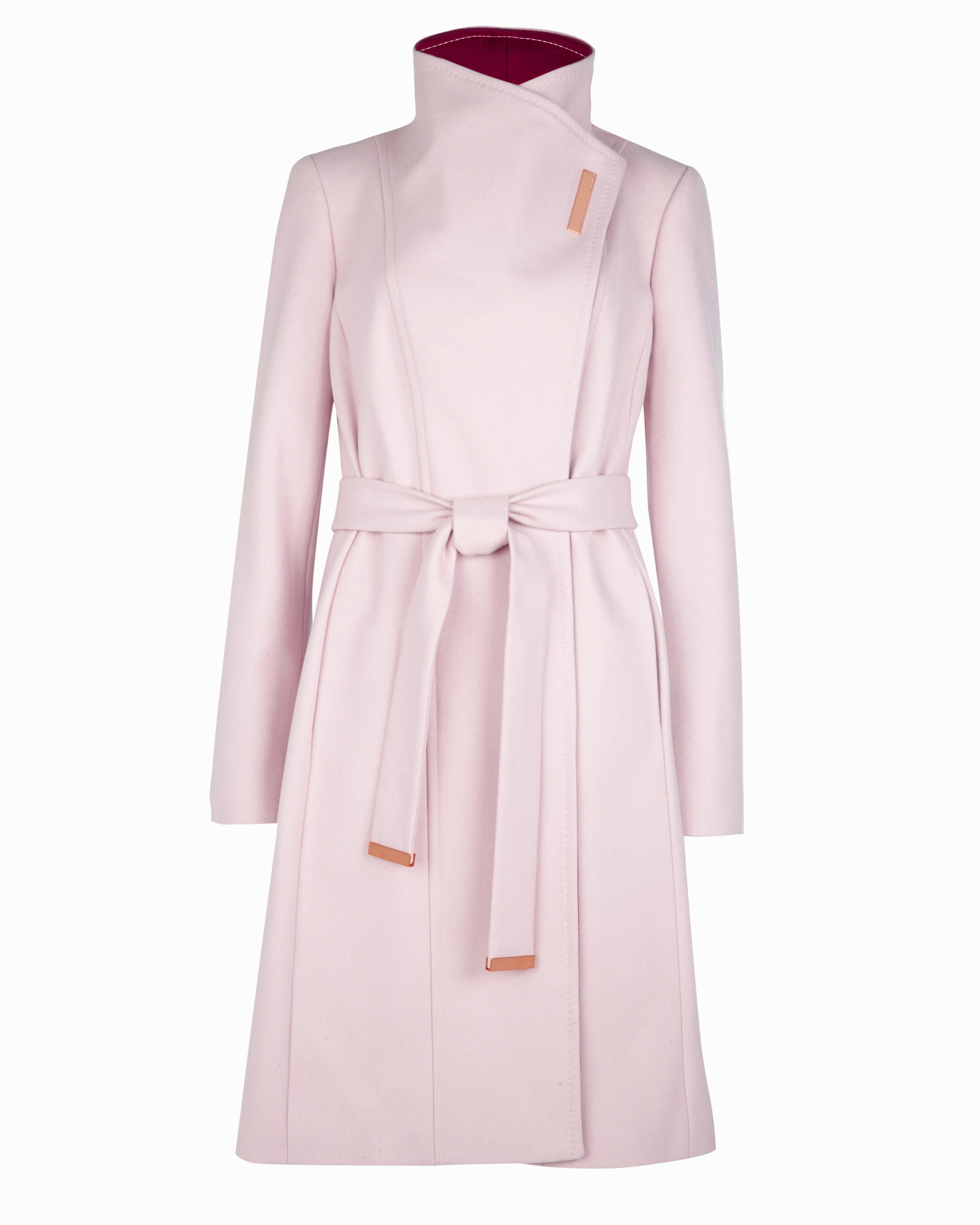 c6676afeb Ted Baker Long Wool Wrap Coat in Pink - Lyst
