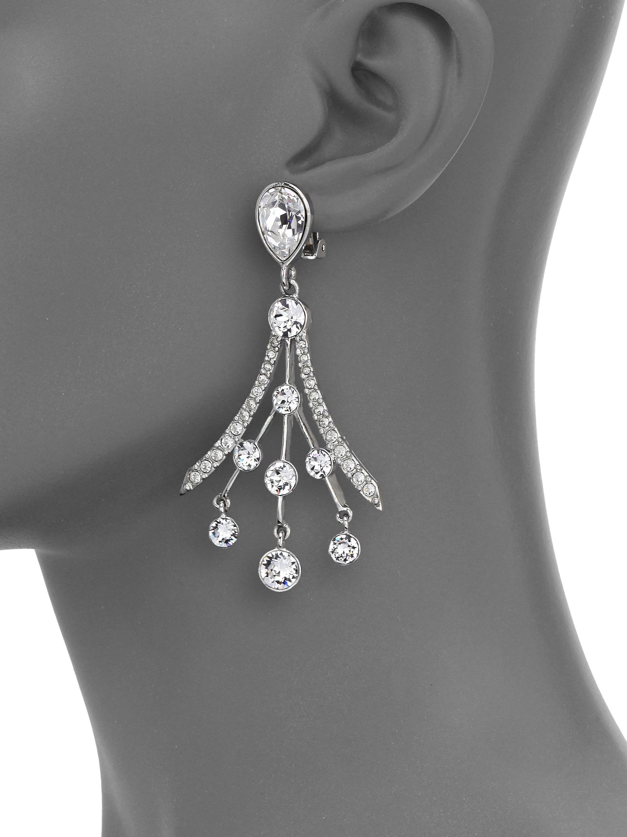 ed28cae22 Oscar de la Renta Swarovski Crystal Fan Earrings in Metallic - Lyst