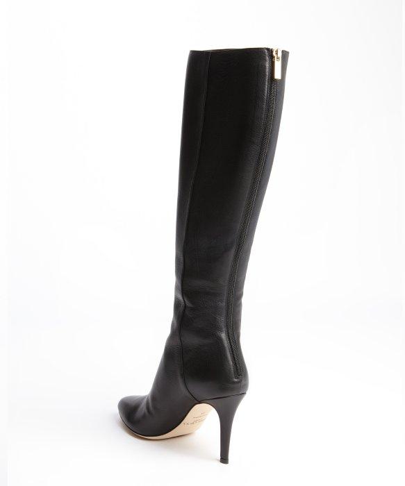Jimmy choo Black Leather Back Zip Grand Heel Boots in Black | Lyst