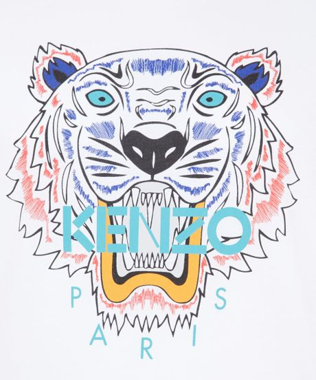 Kenzo White Tiger Cotton T shirt In For Men Lyst