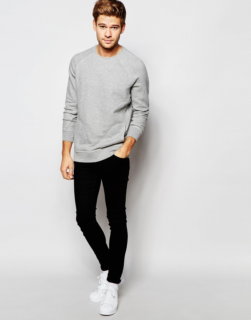 lyst selected elected homme sweatshirt with raglan sleeves in gray for men. Black Bedroom Furniture Sets. Home Design Ideas