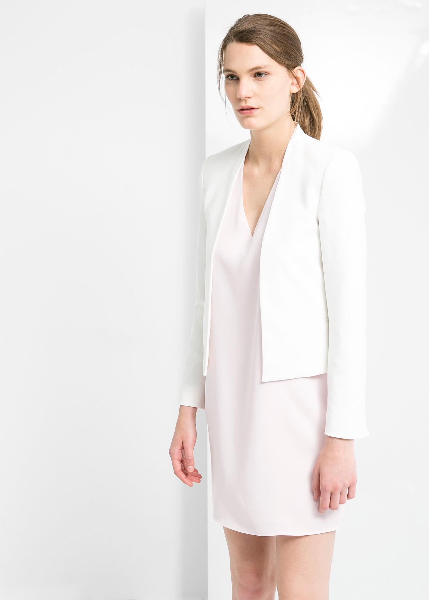 Lyst Mango Trim Cropped Blazer In White