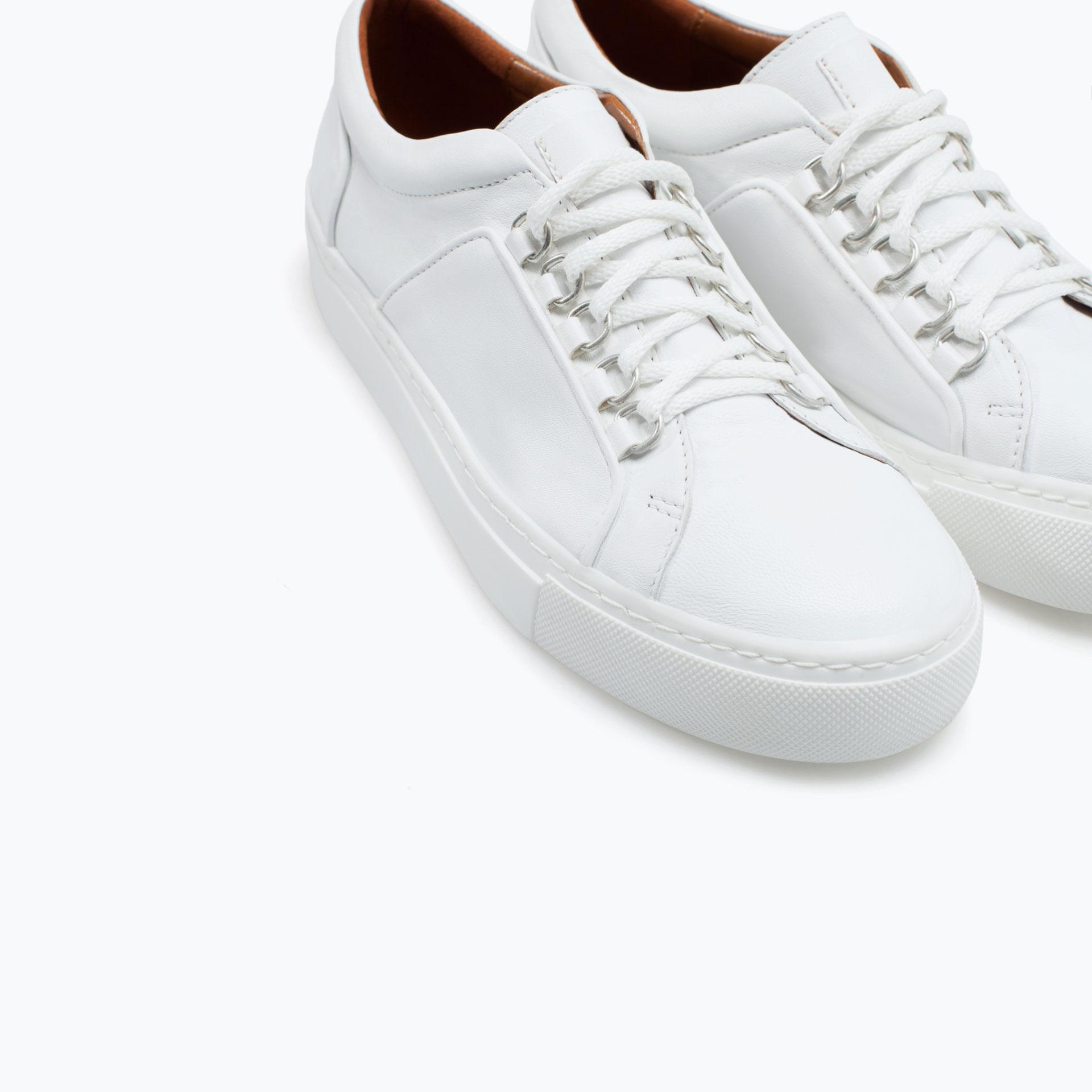 Simple Zara HighTop Sneakers In White  Lyst
