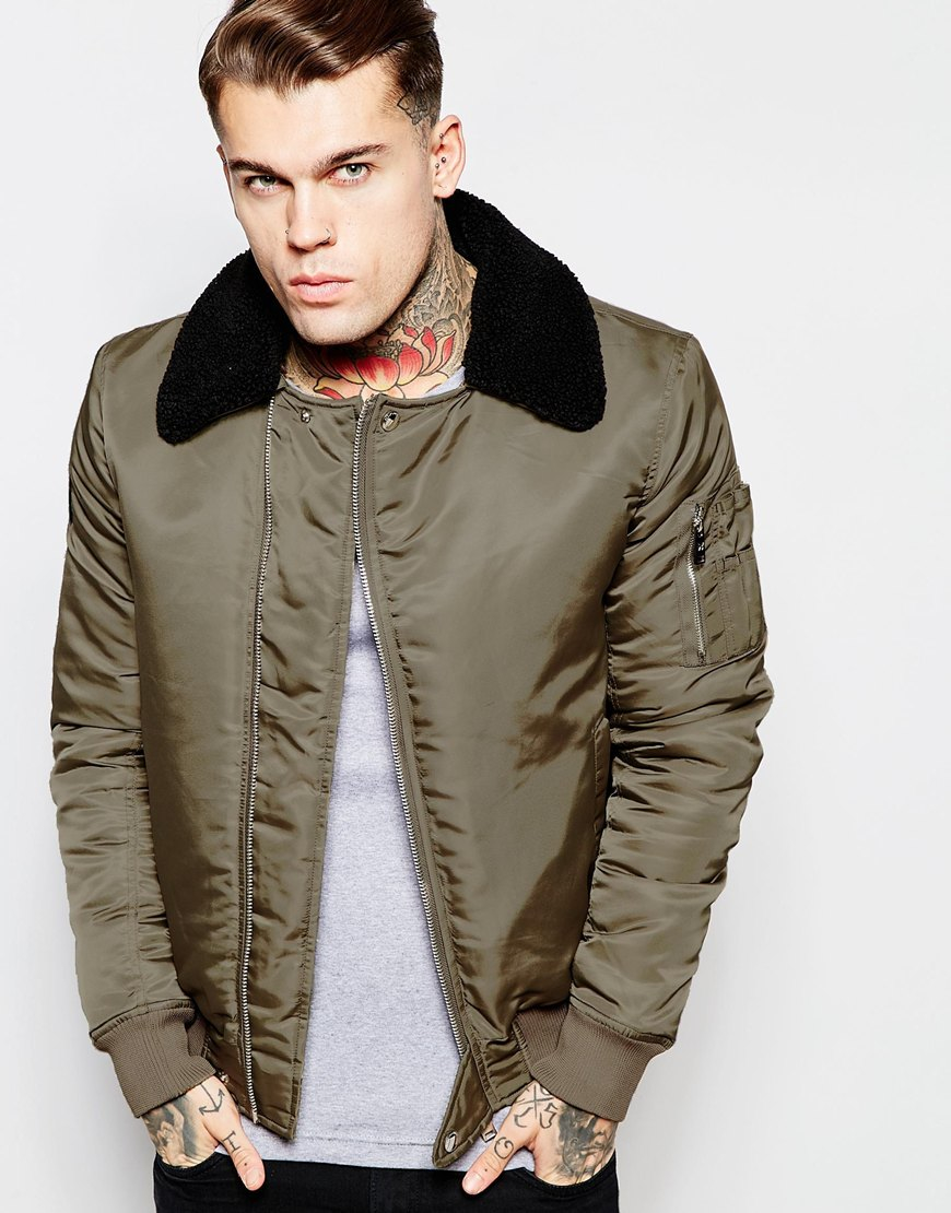 Good for nothing Bomber Jacket With Detachable Collar in Green for