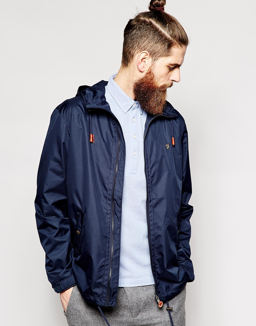 Farah Rain Jacket With Hood in Blue for Men | Lyst
