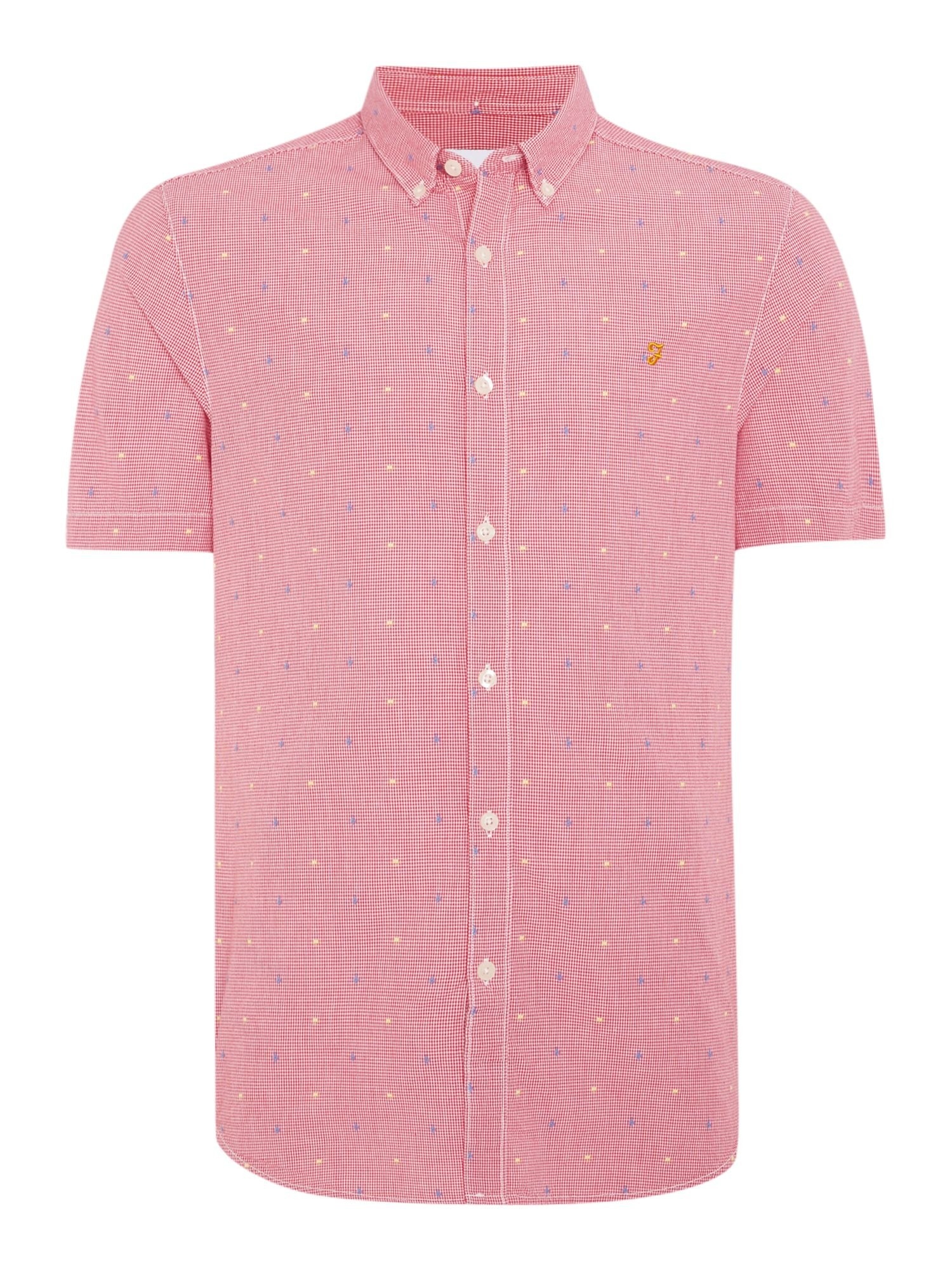 Farah thirlby slim fit short sleeve gingham shirt in red for Slim fit gingham check shirt