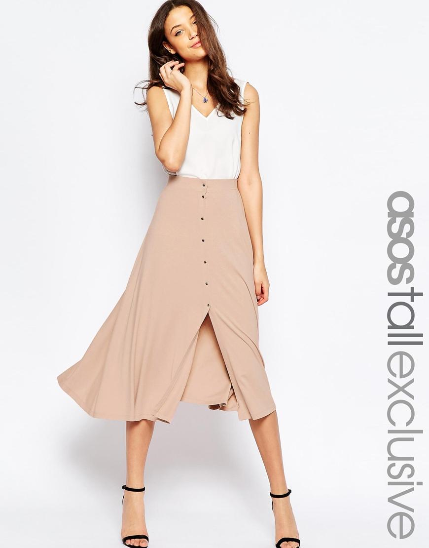 asos button through midi skirt in pink blush lyst