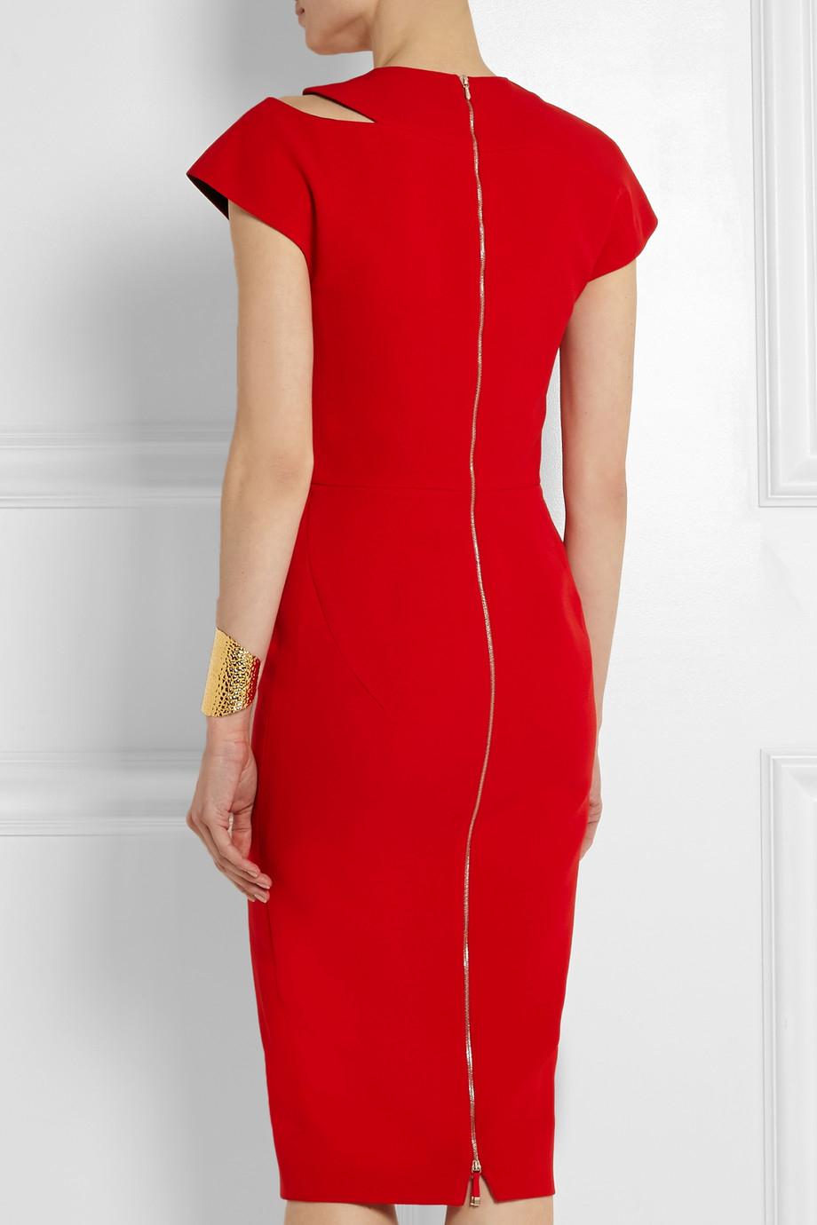 Lyst Victoria Beckham Cutout Silk And Wool Blend Crepe