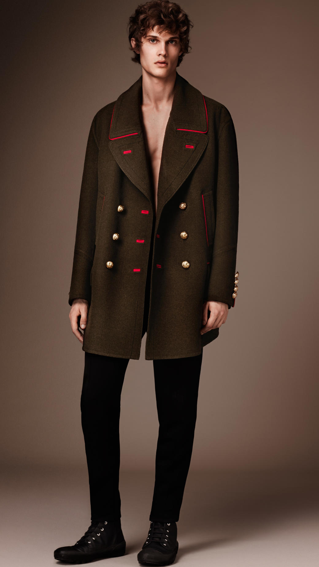 Burberry Cashmere Wool Military Pea Coat in Green for Men | Lyst