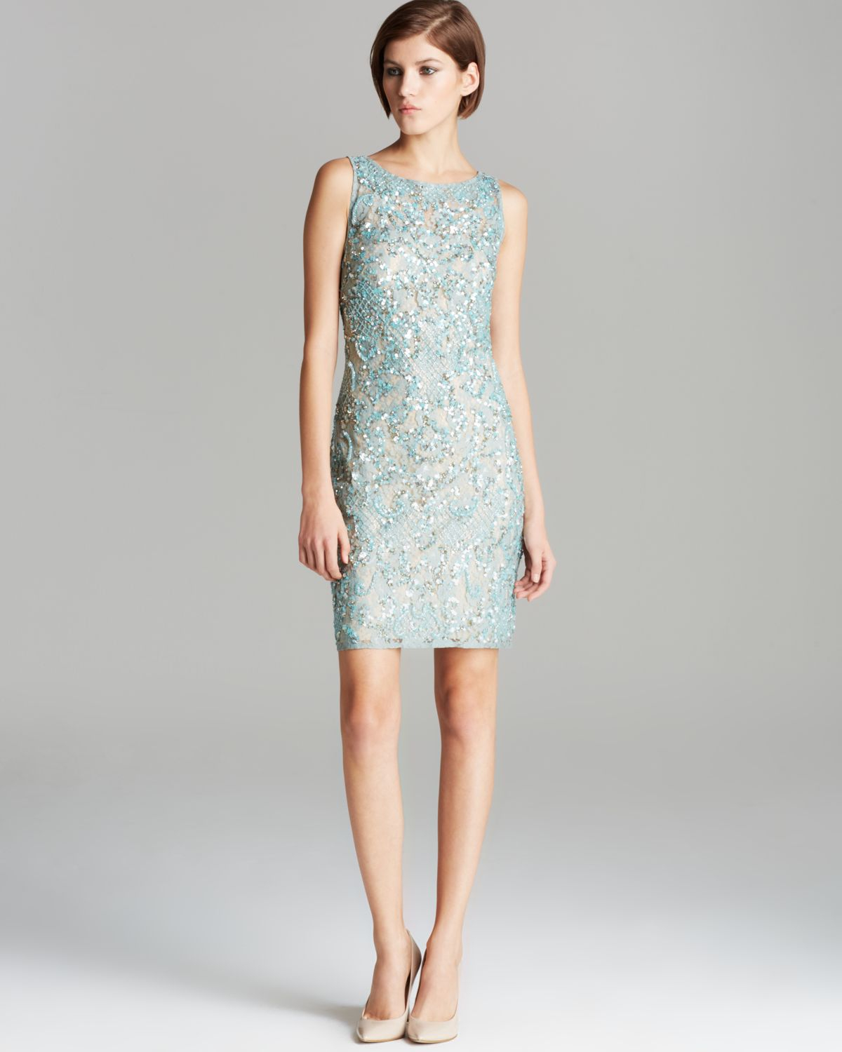 Aidan mattox Dress Sleeveless Beaded Lace in Green | Lyst